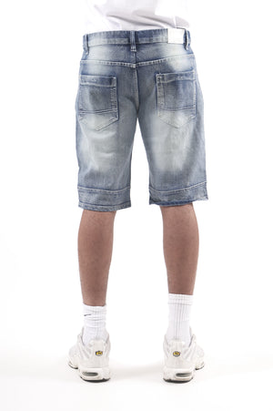 Southpole Men Zipper Biker Denim Shorts