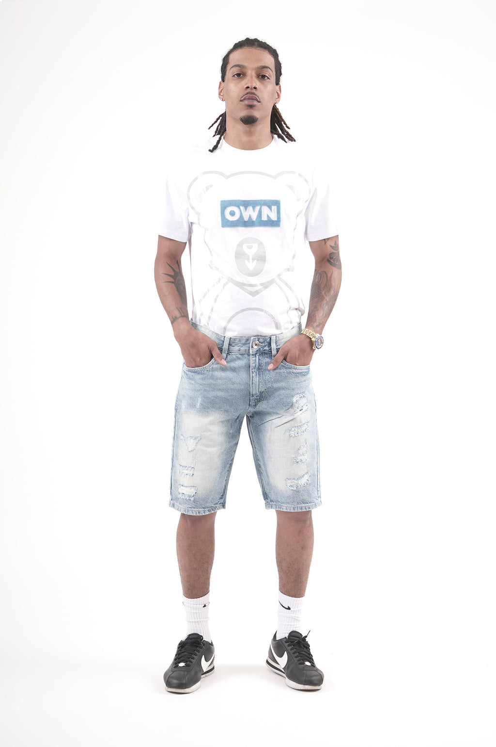 Southpole Men Ripped Denim Shorts