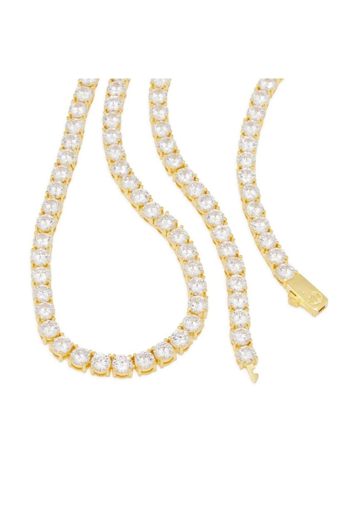 Aao Fashion Acc 5mm 14K Gold Tennis Choker Set