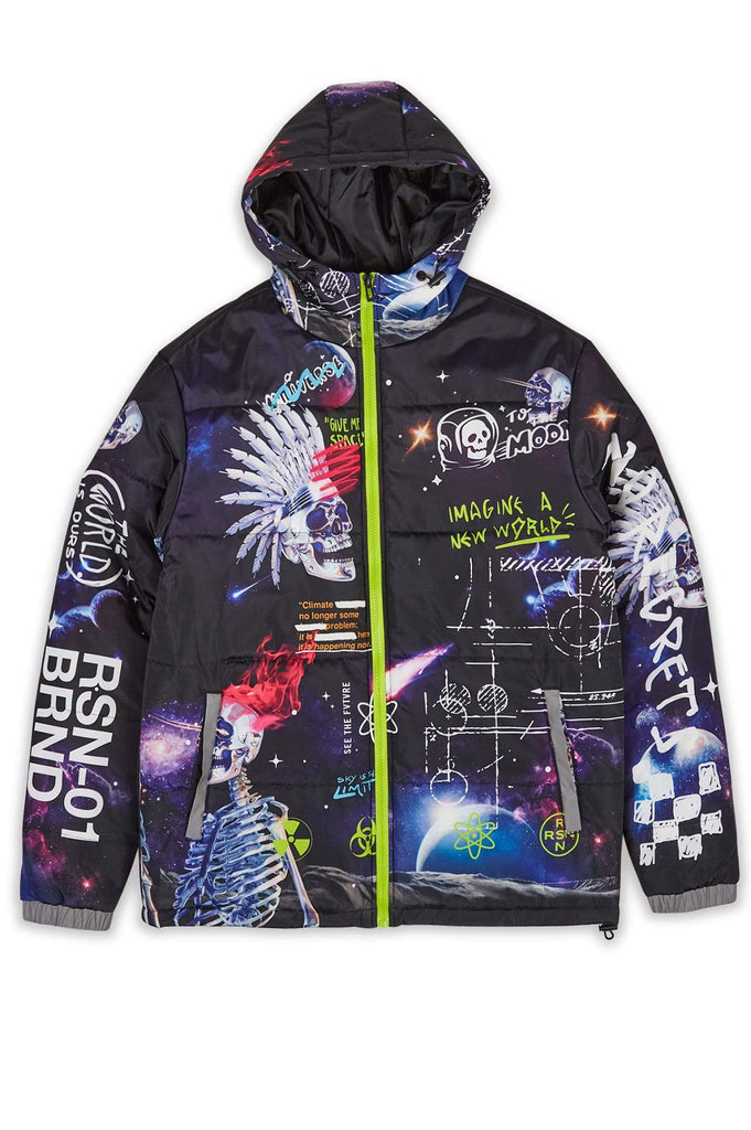 Aao Fashion Men Space Graffiti Padded Jacket