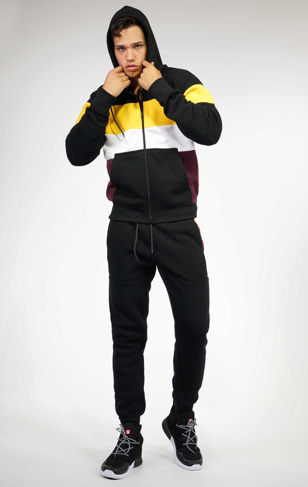 AAO FASHION MEN COLOR BLOCK FULLZIP HOODY