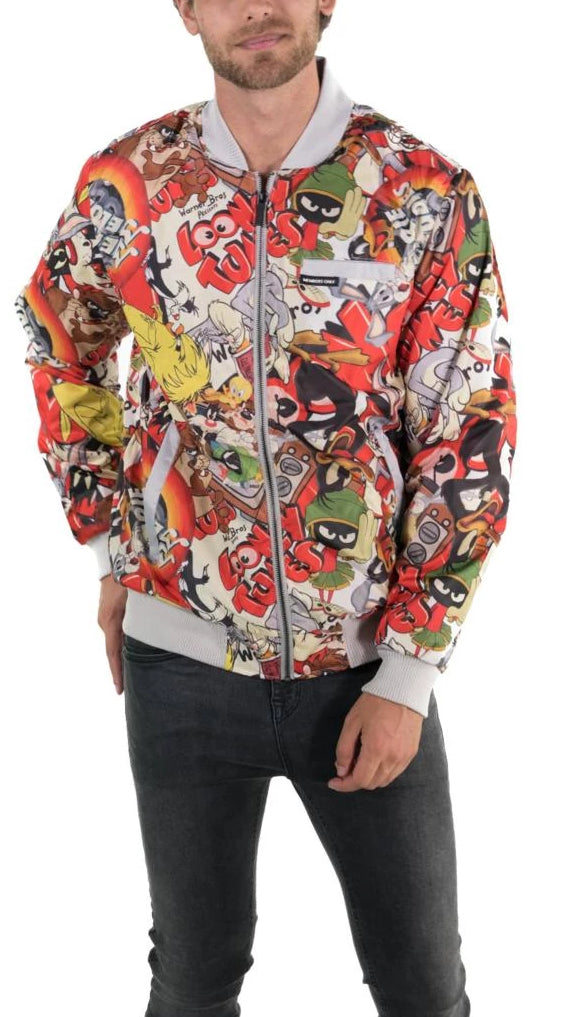 Members Only Men All Over Retro Print Looney Tunes Bomber Jacket