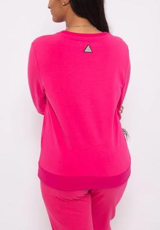 Black Pyramid Women Crew Neck W/Chenille Patch  Long Sleeve Tee