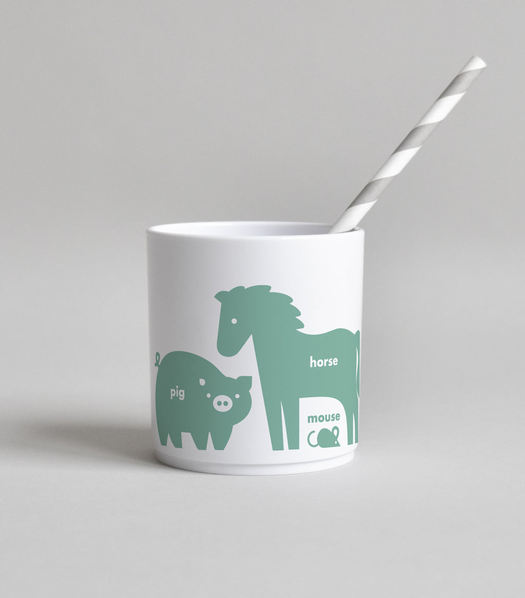 farm animal tumbler green white buddy and bear