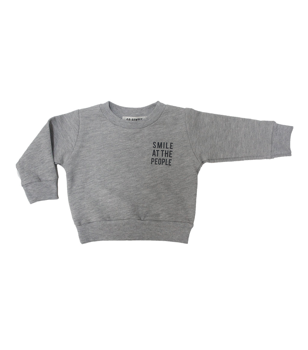 heather grey crew neck go gently nation smile at the people