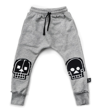 nununu skull robot patch sweatpants heather grey