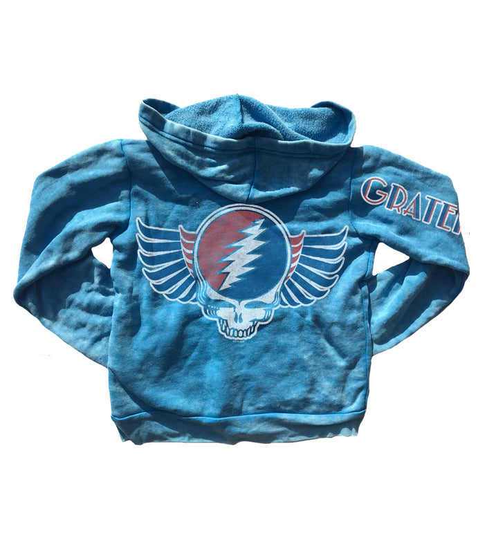 blue Grateful Dead burnout zip up hoodie