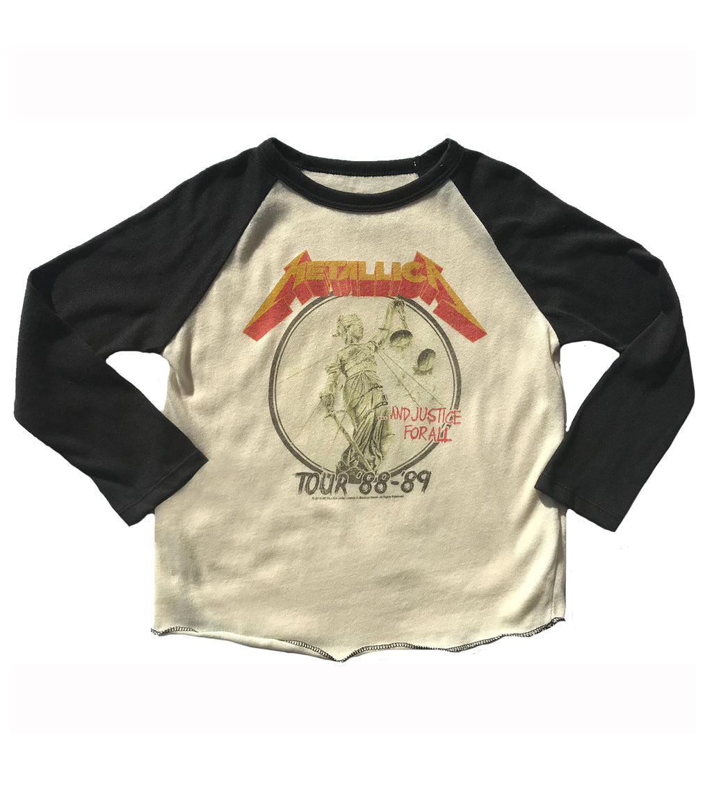 black cream Metallica raglan tee