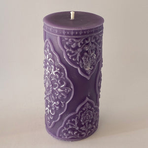 purple beeswax pillar candle, 400gr