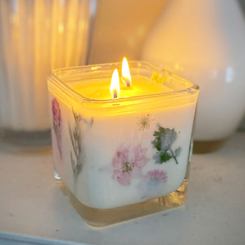 scented candle with flowers
