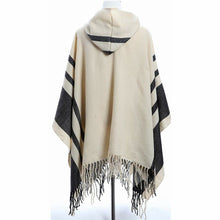 Amy Babe Strip Print Bohemian Blanket Poncho Cape Shawl Tassel with Hoodie Cloak