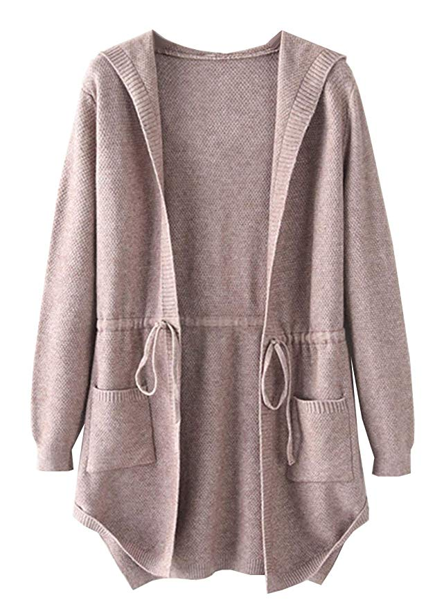Amy Babe Women's Open Front Drawstring Waist Boyfriend Hoodies Sweater Cardigans with Pockets