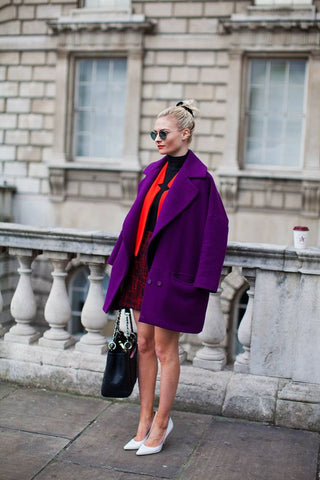 Bright purple jacket with red blazer