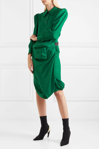 pushbutton Belt bag-detailed draped wool-crepe midi dress net aporter