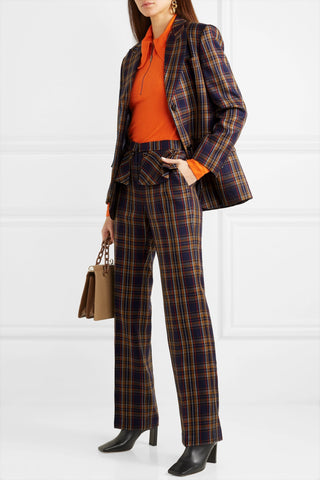 Paneled faux leather and checked twill blazer and pants