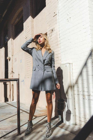 grey oversized blazer dress