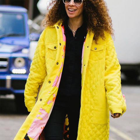Candice Fragis Fashion Week Yellow Coat Streetstyle Photography