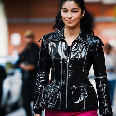 Carolin Issa Fashion Week Leather Jacket
