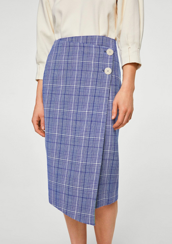 mango blue chequered womens skirt