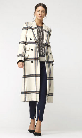 malene birger white chequered double breasted long trench coat