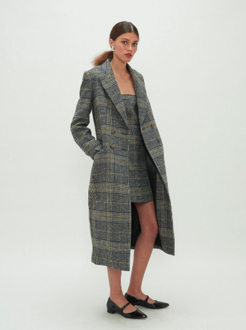 alexa chung grey chequered double breasted trench coat