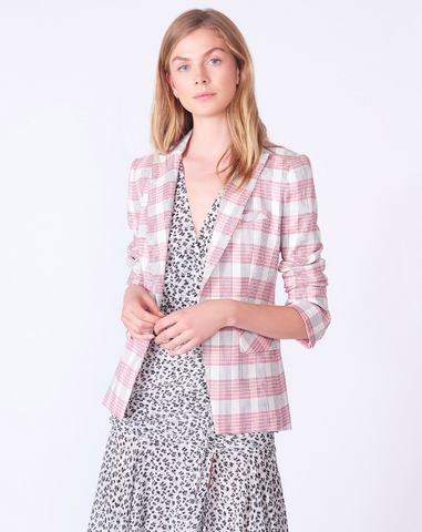 whistles pink chequered womens blazer