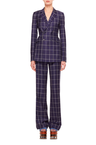 gabriela hearst blue chequered womens suit