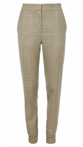 tibi brown chequered trousers