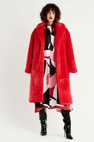 Delfi Collective Long Red Fur Coat