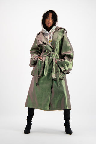 Daily Paper Unisex Green Snake Skin Trench Coat