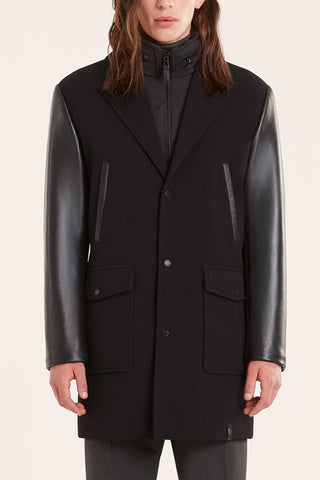 Mens Overcoat with Leather sleeves