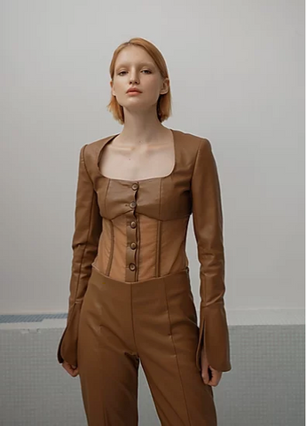 Lee Wei Vegan Leather Bodysuit
