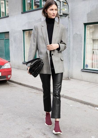 Casual Chic Black Turtle neck styled with blazer and trainers