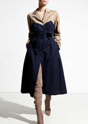 navy and beige trench coat