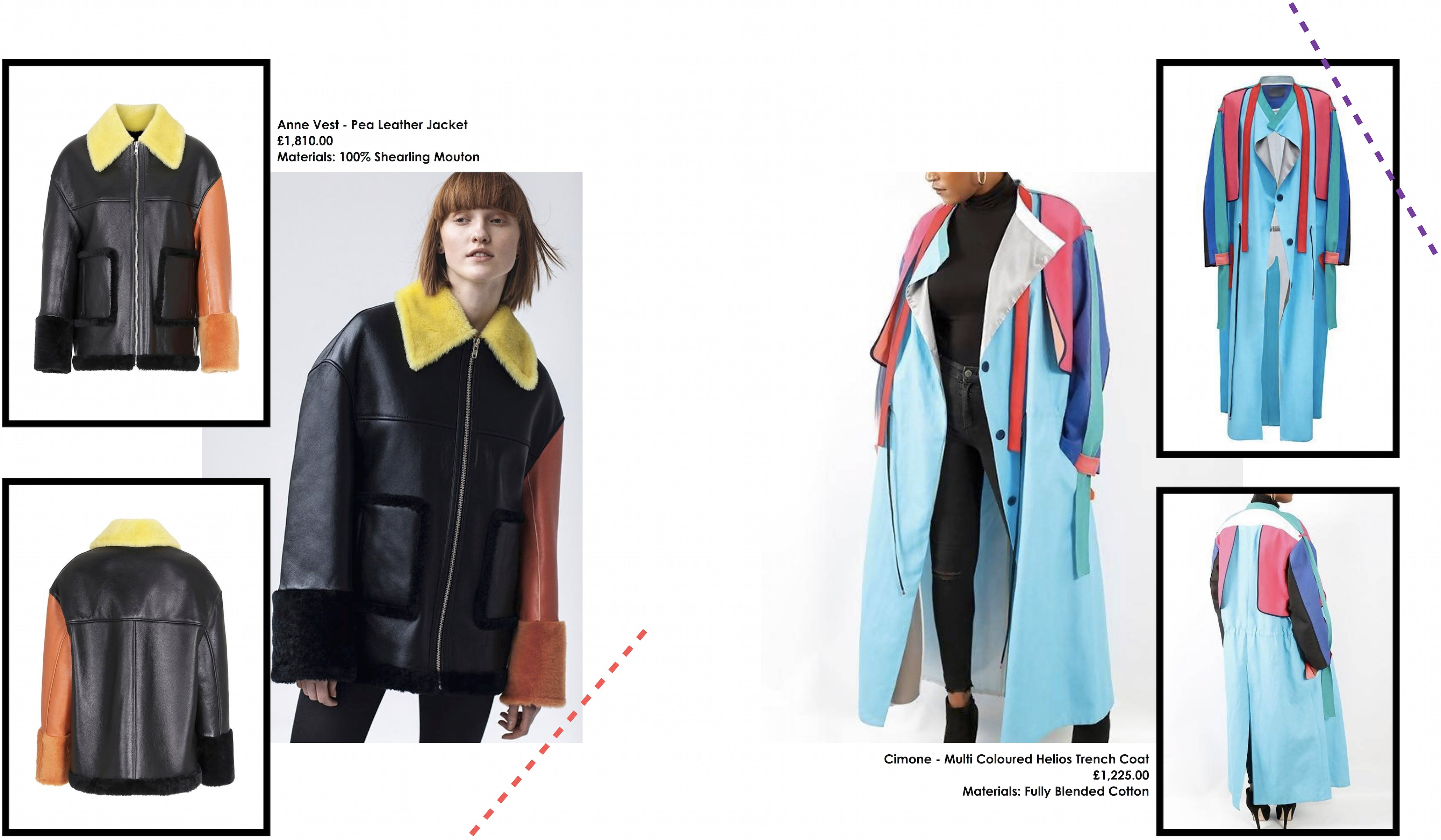 anne vest pea leather jacket and cimone multi coloured helios trench coat