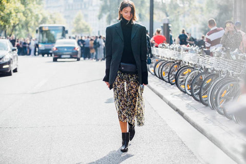black Blazer with flow leaopard skirt