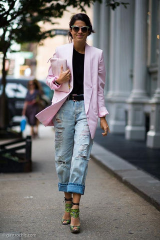 PASTEL COLOURS BABY PINK BLAZER STYLED WITH DENIM JEANS STREETSTYLE