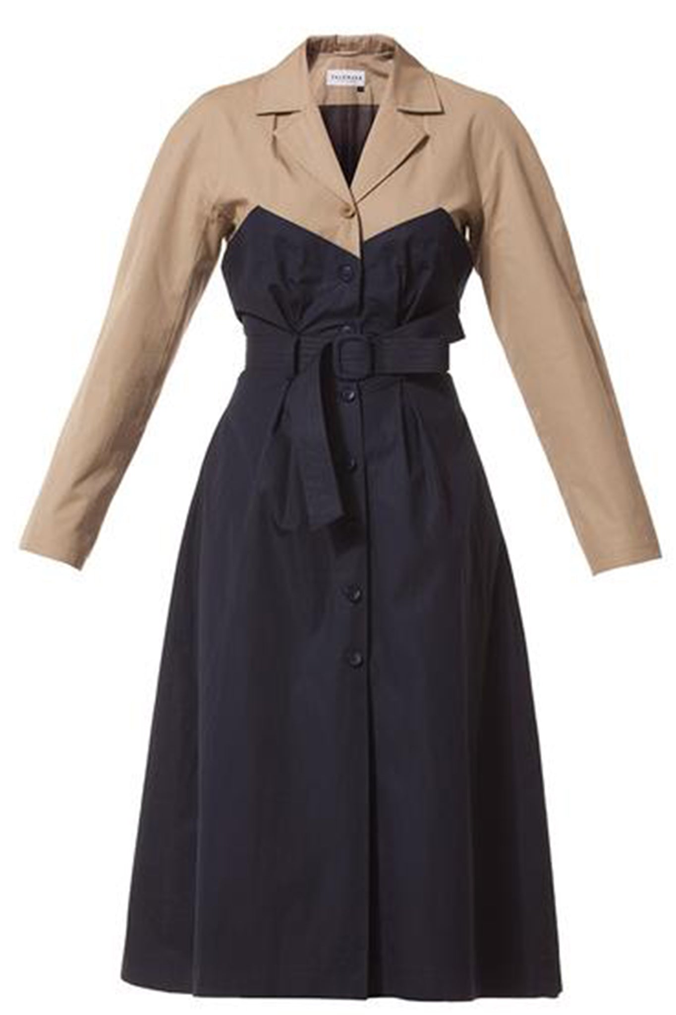 Talented Navy Blue and Khaki Belted Trench Coat