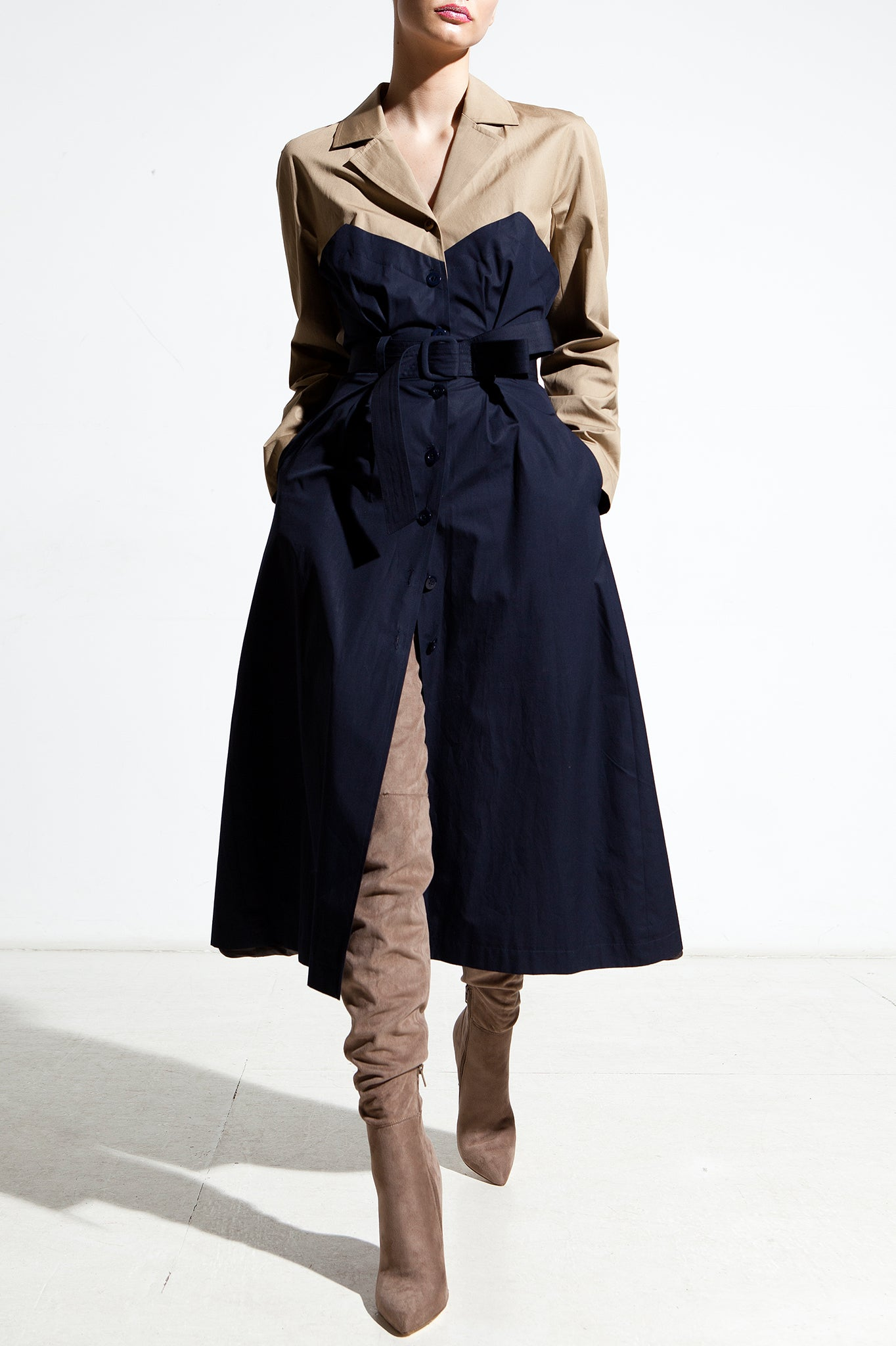 Trench Coat in Navy Blue and Khaki