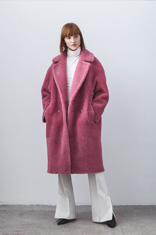 Anne Vest Cozy Shearling Coat in Pink