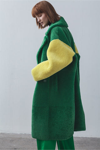 Anne Vest Cozy Shearling Coat in Green