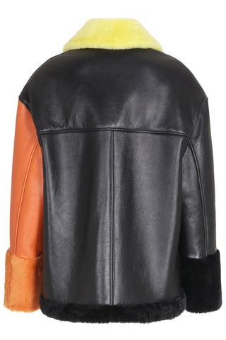 Anne Vest Pea Leather Jacket in Black and Orange