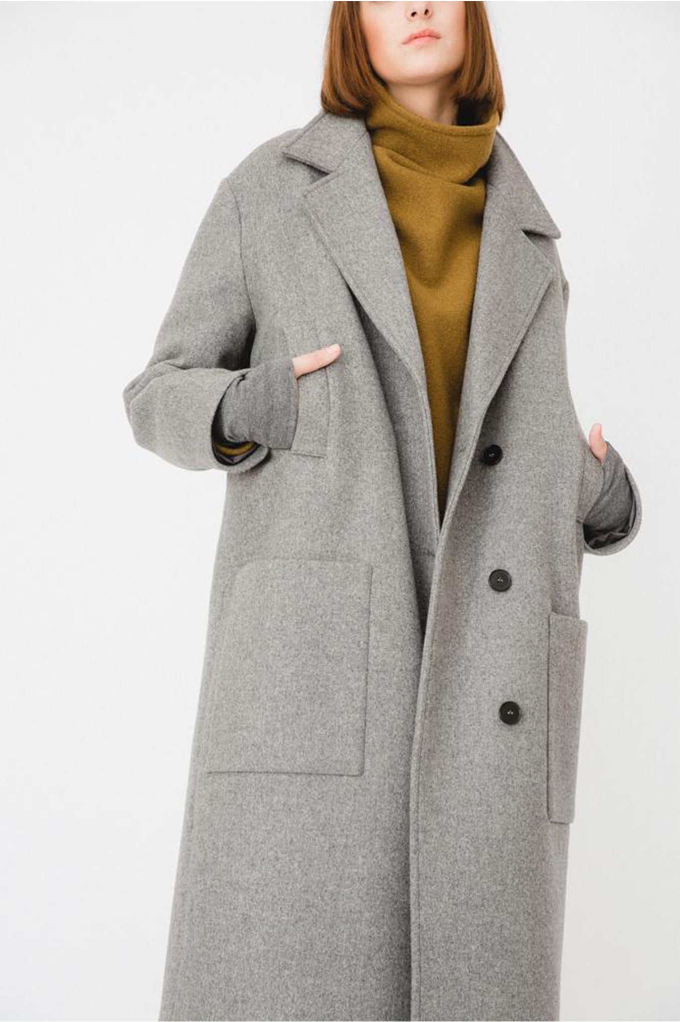 Buffet Classic Grey Oversized Woollen Coat