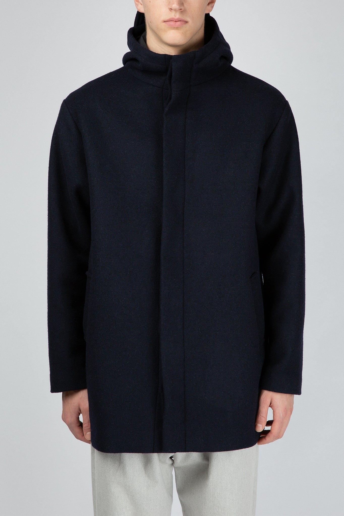 Buffet Blue Wool Parka Coat