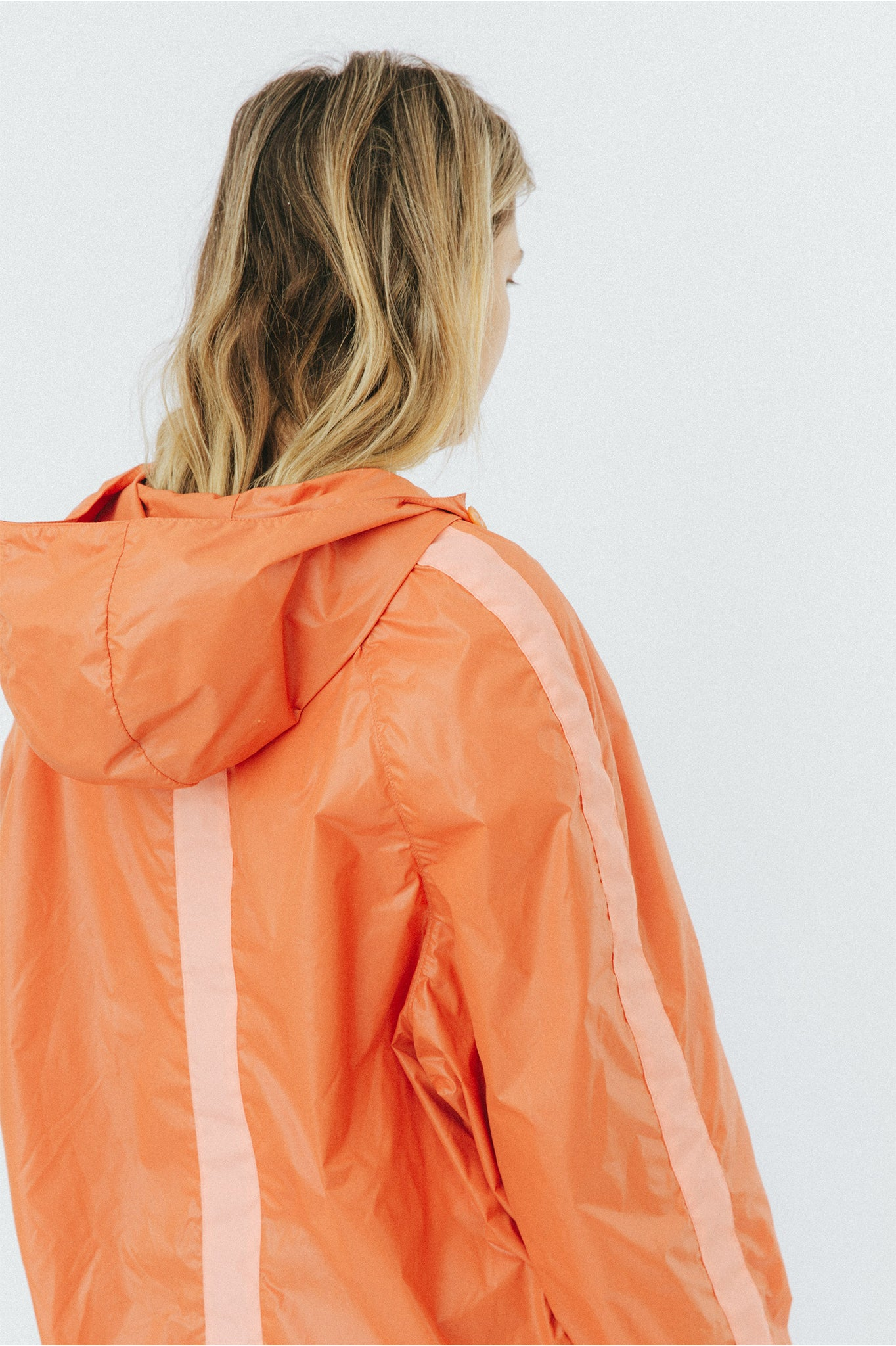 Buffet Windbreaker Overhead Anorak Jacket in Orange