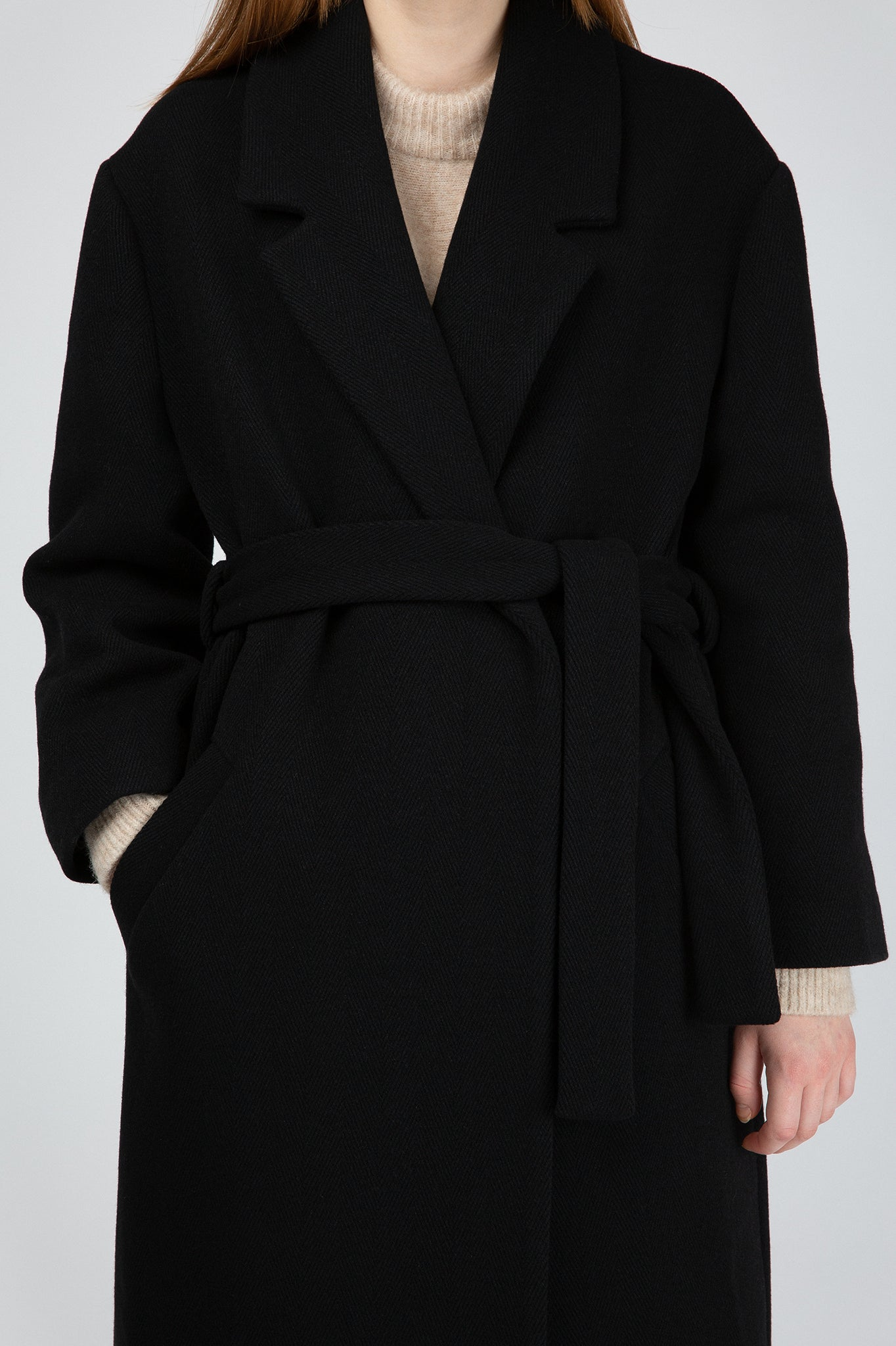 Buffet Black long wool wrap Coat