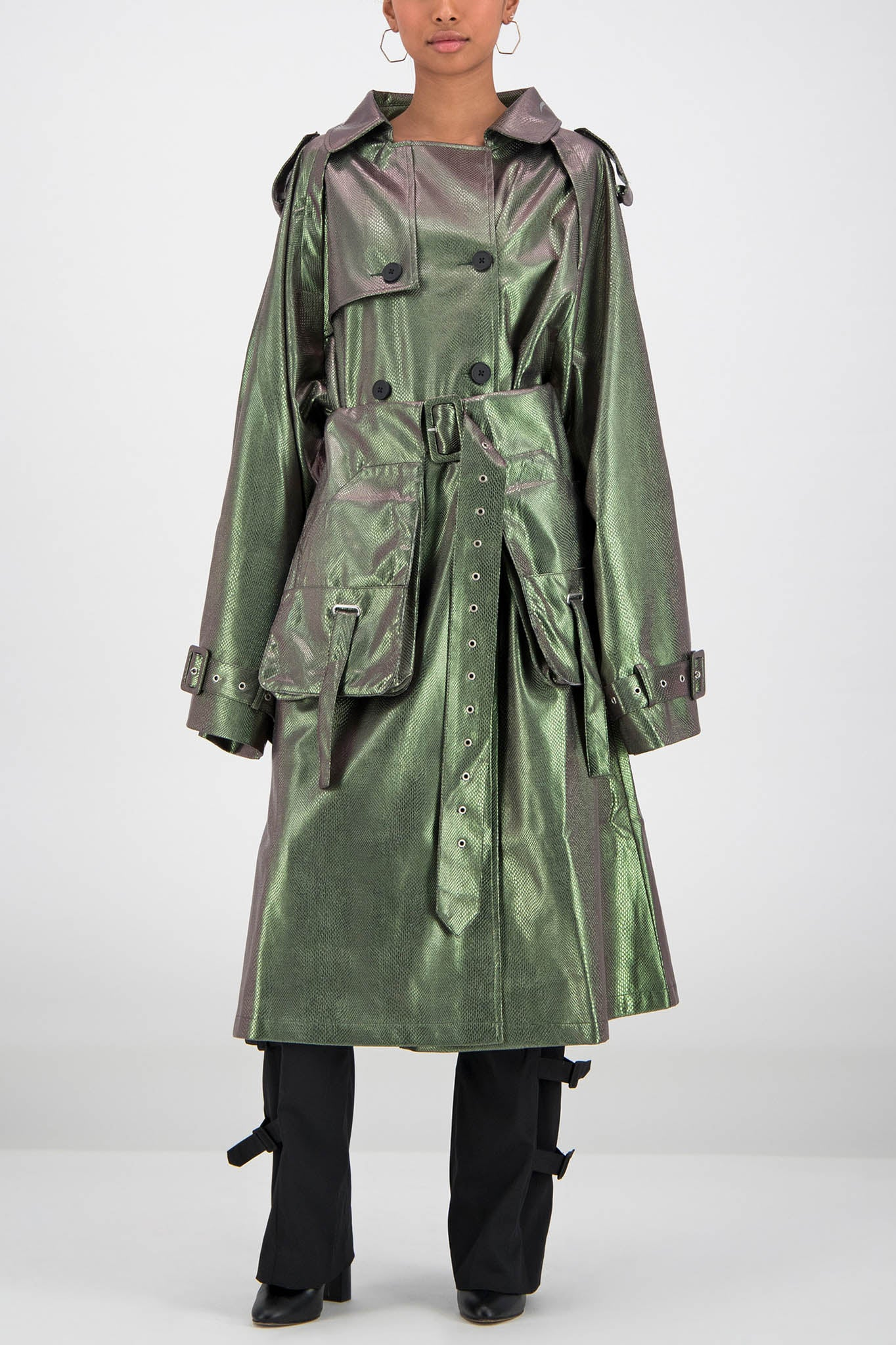 Daily Paper Green Snake Trench Coat