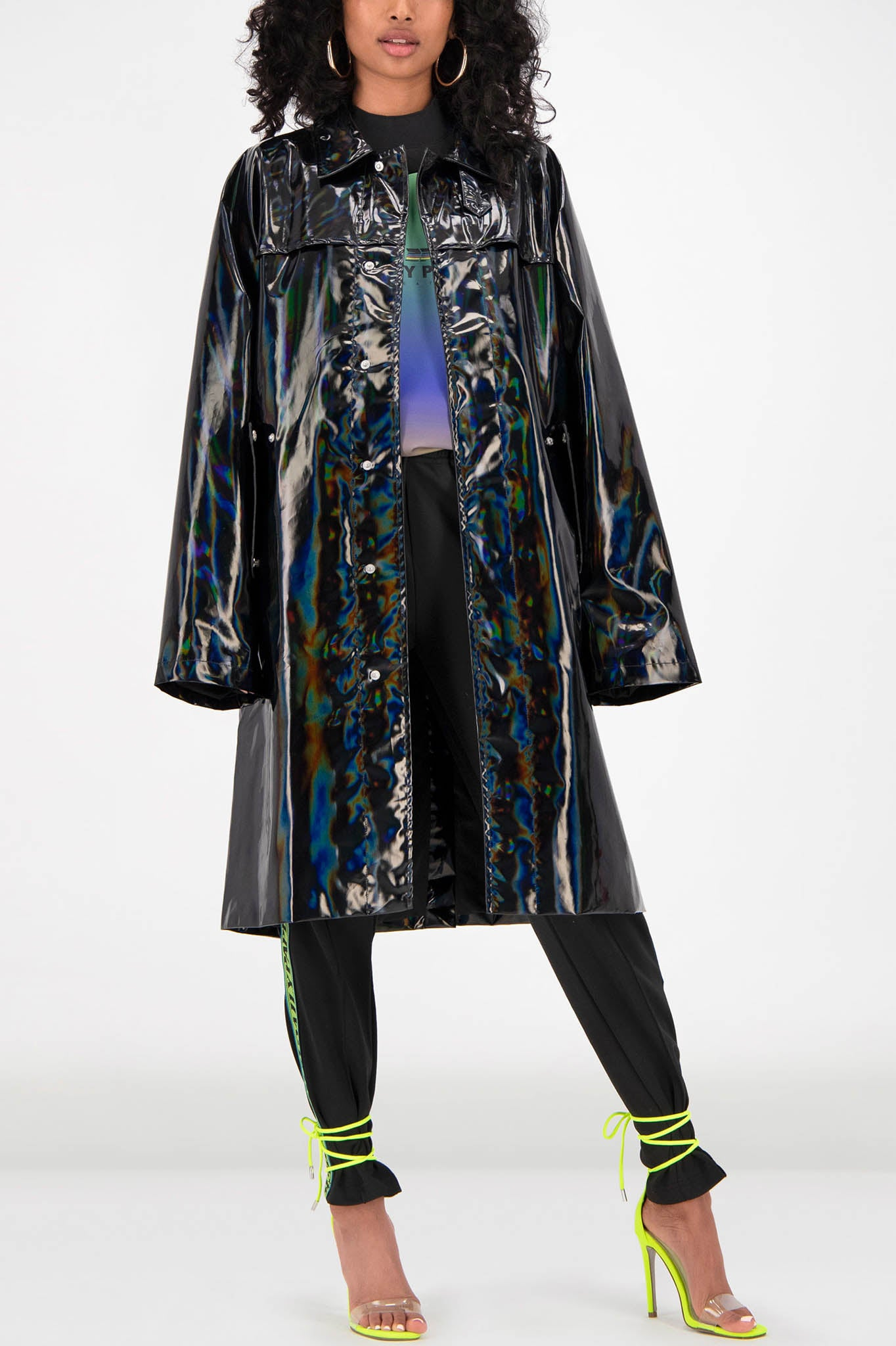 Daily Paper Black Holographic Raincoat