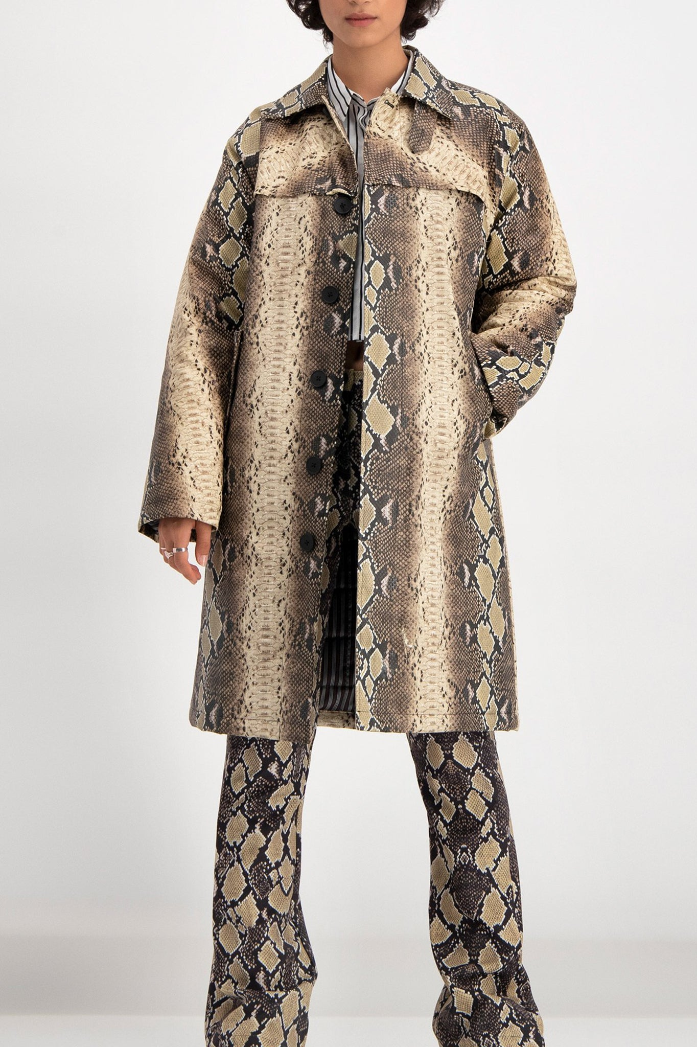 Daily Paper Faux Leather Snakeskin Coat