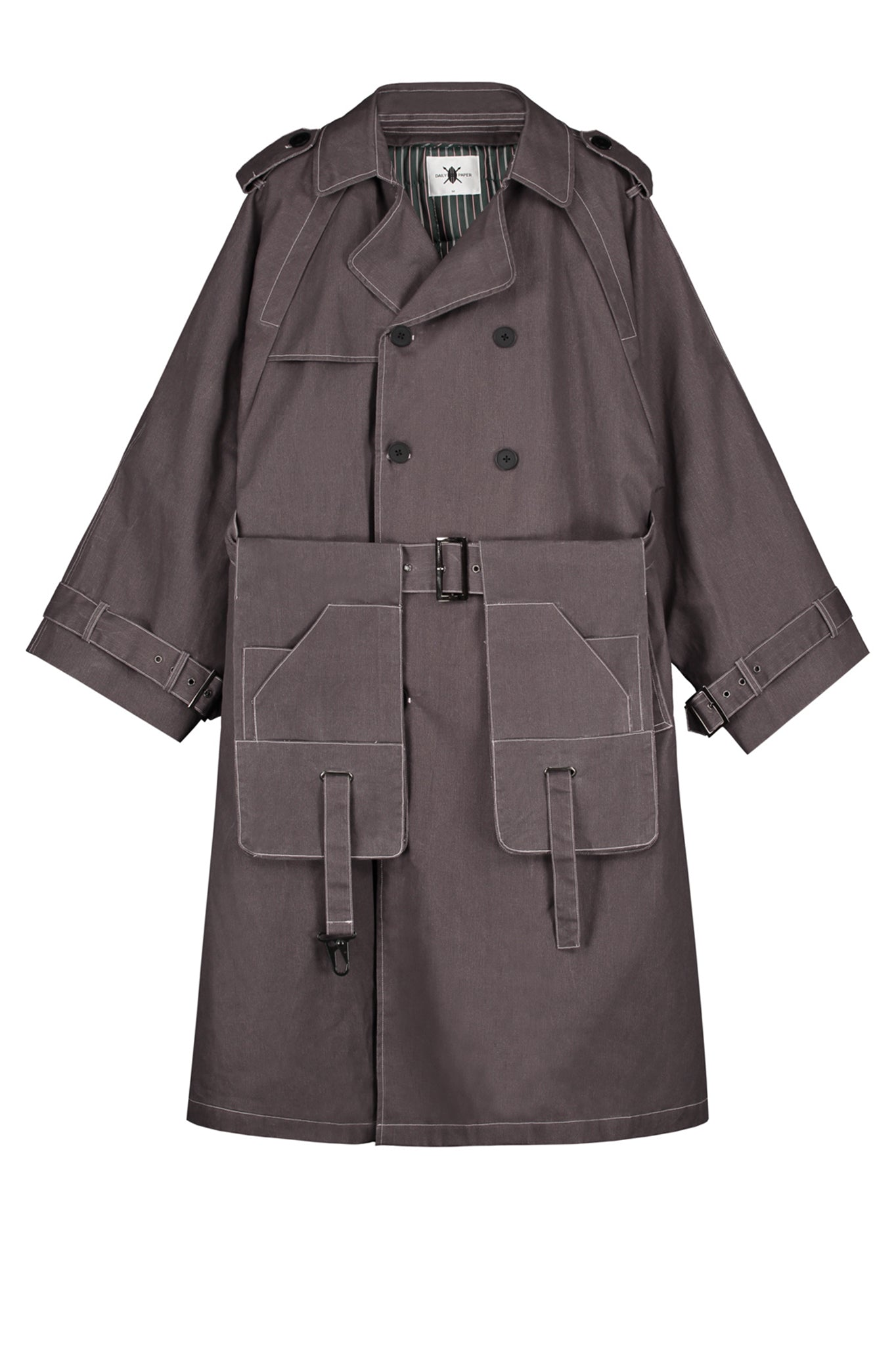 Dante Denim Trench Coat in Grey